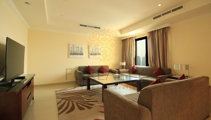 Fully-furnished living room in apartment for rent image